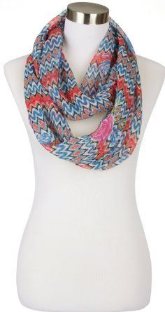 Spring Thin Zig Zag Pattern with Flower Loop Infinity Scarf, Blue
