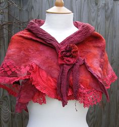 Deep Red Nuno Felted Vintage Lace  Shawl by folkowl on Etsy