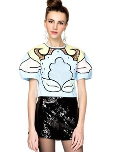 Make a grand entrance at any party with this stunning multi color embroidered cotton powder blue top. It has mesh detail through chest and lattice through collar. Zipper closure on back, unlined. We love styling this statement pastel top with a cute flared skirt and mega high heels. By Alice McCall. *100% cotton *32