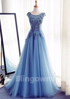 Bateau Appliques Floor Length Blue Sleeveless Lace Up Tulle Ball Gown Wedding Dresses