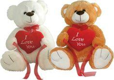 "BIG VALENTINES LOVE YOU TEDDY BEAR PLUSH 15"" Sitting - White/Brown - *NEW*"