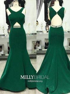 Long Prom Dresses Green,Mermaid Prom Dresses V-neck,Sexy Prom Dresses Open Back,Satin Prom Dresses Beading