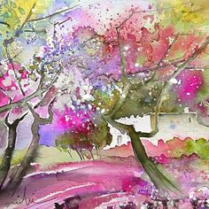 Rioja Spain 02. Artist:Miki De Goodaboom. Medium:Painting - Water Colour