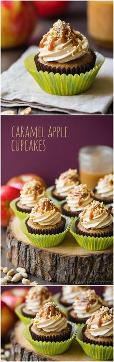 Caramel Apple Cupcakes: moist, subtly spiced apple cake topped with salted caramel buttercream, drizzled with caramel sauce and garnished with chopped peanuts. Just like the favorite fall treat, in cupcake form! food desserts apple via @bakingamoment