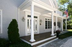 Exterior Colours: great gray colour and wooden porch look with white risers.
