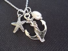 Anchor Starfish and Pearl Necklace Bridesmaid by DaniJessBoutique, $14.99