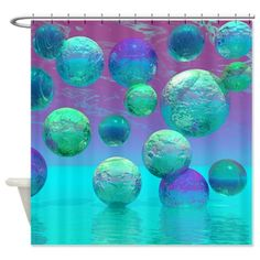 Ocean Dreams Aqua & Violet Shower Curtain #sold to Tennessee!