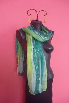 Silk, silk scarf, hand made scraf, silk painting- green, 180 x 45 cm by tothajhsa on Etsy