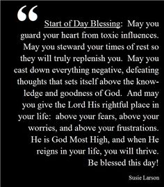 Start of Day Blessing by Susie Larson