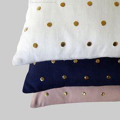 Gold Studded Pillow Cover in Cream Linen 12x20   Polka Dot Pattern   by JillianReneDecor