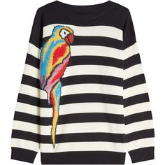 Marc Jacobs Striped Parrot Pullover ($599) ❤ liked on Polyvore featuring tops, sweaters, stripes, white top, wool sweaters, white sweater, striped pullover sweater and sweater pullover