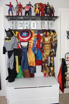 Boys room superhero costume display organization - ikea and land of nod