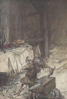 1911 Original Arthur Rackham tipped-in plate from 'Siegfried & The Twilight Of The Gods', 1st Britis