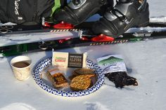 Taking a break from our backcountry skiing adventure for some Cabot Cheese and Crackers, Cold Hollow Cider, Sherry's Trail Bars and Vermont Farmhouse Jerky! Cabot Cheese, Outdoor Outfitters, Ski Touring, Vermont, Crackers, Skiing, Trail, Farmhouse, Tours