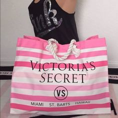 """VS White Pink Striped Beach Tote Bag Victoria's Secret Spring Fever Beach Bag *brand new-removed from packaging to capture photos* - Black graphics - Rope like handles on each side - Spacious interior - Mid snap closure  🚫NO TRADES🚫  ❌I don't reply to comments saying """"lowest?""""  *tank top shown on mannequin is NOT included Victoria's Secret Bags Totes"""