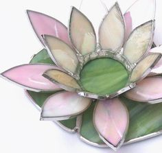 Lotus Flower Tealight Candle Holder in Light by GlassAdornedStudio Stained Glass Flowers, Stained Glass Lamps, Stained Glass Projects, Stained Glass Patterns, Mosaic Glass, Fused Glass, Tea Light Candles, Tea Lights, Lotus Flower