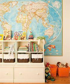 What to do with wall maps via Design Mom Indoor Playroom, Playroom Decor, Kids Decor, Playroom Design, Playroom Storage, Playroom Ideas, Storage Room, Map Nursery, Boy Nursery Themes