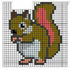 Fabinha Graphics For Embroidery: Animals Tiny Cross Stitch, Beaded Cross Stitch, Cross Stitch Animals, Counted Cross Stitch Patterns, Cross Stitch Embroidery, Manta Animal, Broderie Simple, Pixel Art Templates, Stitch Cartoon