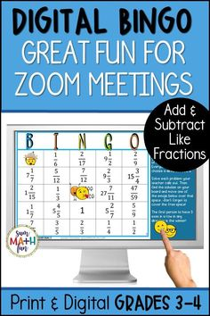 This fraction bingo game is perfect to play during Zoom meetings with your classroom! It is tons of fun and your students will get practice with adding and subtracting fractions with like denominators. No printing or prep needed! Created in Google Slides. With just a tap, students move an emoji to their answer on their MATH-O board. A print version is also included! Addition Of Fractions, Adding And Subtracting Fractions, Addition And Subtraction, Fun Math Activities, Math Games, Math Resources, Bingo Games, Fraction Bingo, Bingo Board