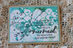 fishscale stencil, colored and misted, second generation image, mermaid, lagoon, #clubscrap