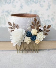 White Rose Hair Comb Cream Ivory Rose Comb by apocketofposies