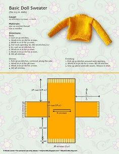 Free tutorial for basic Barbie doll sweater. Free tutorial for basic Barbie doll sweater. Barbie Knitting Patterns, Knitting Dolls Clothes, Barbie Clothes Patterns, Crochet Doll Clothes, Sewing Dolls, Knitted Dolls, Crochet Dolls, Doll Patterns, Clothing Patterns