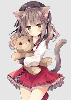 Cute and cuddly, this anime kitty cat is just so adorable with her teddy bear and red dress. Anime Girl Cute, Beautiful Anime Girl, Kawaii Anime Girl, Anime Art Girl, Manga Girl, Anime Girls, Manga Anime, Gato Anime, Anime Neko