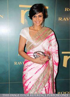 Vivid Satin Bandhej print Cream and Hot Pink Fancy Printed saree