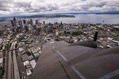 """B-17 """"The Movie"""" Memphis Belle flies over Seattle 