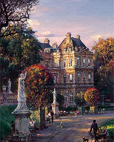 "CAO YONG ""The Luxembourg Garden I: Medicis's Palace"" Limited Edition H/E CANVAS 24"" by 18"""