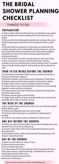 Planning a Baby Shower? 3 Tips For Throwing a Wonderful Baby Shower The Bridal Shower Planning Checklist. How To Host A Baby Shower Checklist Bridal Shower Checklist, Bridal Shower Planning, Bridal Shower Party, Bridal Shower Decorations, Bridal Showers, Baby Showers, Bridal Parties, Tea Parties, Bachelorette Party Checklist
