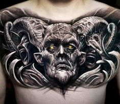 Devil tattoo by Arlo Tattoos Post 26603 devil tattoo - Tattoos And Body Art Satanic Tattoos, Evil Tattoos, Scary Tattoos, Skull Tattoos, Body Art Tattoos, Tattoos For Guys, Sleeve Tattoos, Horror Tattoos, Cool Chest Tattoos
