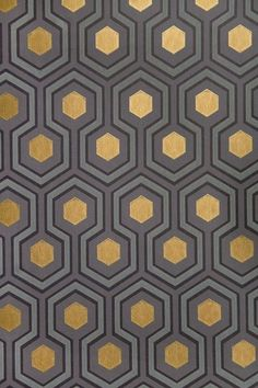 More of David Hicks wallpaper- I love the metallic gold finish in contrast to the grey tones!