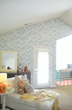 scattered herringbone wall vinyl I love the color scheme in this room Chevrons, Master Bedroom Makeover, My Living Room, New Room, Home Decor Inspiration, Design Inspiration, Decor Ideas, Decoration, My Dream Home