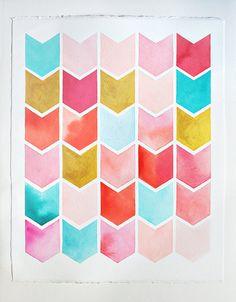 chevron watercolor PRINT geometric pattern by sweetmagoo