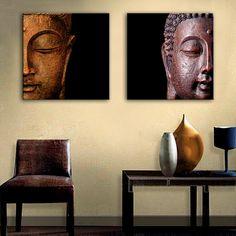 2 Pieces Multi Panel Modern Home Decor Framed Buddha Head Wall Canvas Art