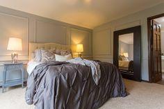 DIY headboard in master bedroom remodel