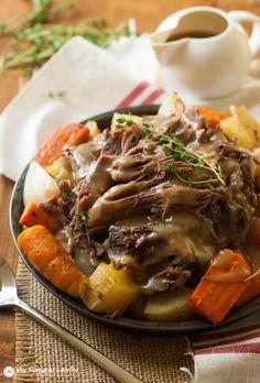 To make this easy pot roast crock pot recipe gluten-free, use a gluten free flour to make the gravy.