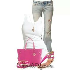 White tank with pink accessories
