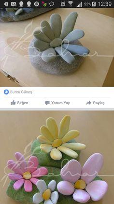 stones flowers - Painted rocks - diy