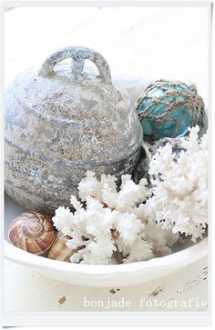 Bonjade: Sea feeling...beautiful display of floats and shells for my beach inspired guest room
