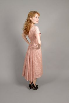 1950s pink lace bridesmaid dress / 50s lace dress by coralvintage, $166.00