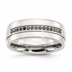 Stainless Steel Polished & Black Diamonds 8mm Band – Sparkle & Jade