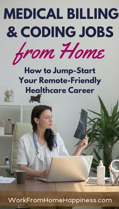 Medical billing and coding jobs from home give you a chance to build a career without the cubicle. And its such an in-demand career path that there are more job openings than professionals to fill them! Learn how you can get started in this remote-friend Healthcare Careers, Medical Careers, Medical Humor, Medical Assistant, Virtual Assistant, Medical Billing And Coding, Medical Coder, Medical Terminology, Coding For Beginners