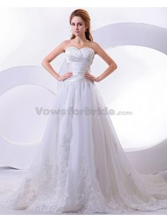 Satin and Organza Sweetheart Court Train A-Line Wedding Dress with Embroidered