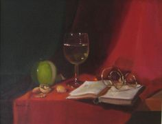 """""""White Wine on Red"""" 11""""x14"""" oil on canvas by Beverly Brown"""