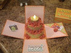 Tea light birthday cake gift card box. Rhonda's Paper Crafts & more: Tea light Gift Card Box