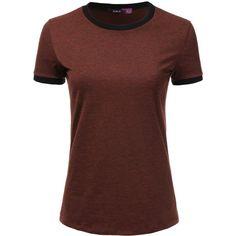 Doublju Short Sleeve Contrast Vintage Melange Burnout T-Shirts For... ❤ liked on Polyvore featuring tops, t-shirts, women's plus size t shirts, plus size short sleeve tops, plus size burnout tee, burnout tee and plus size t shirts
