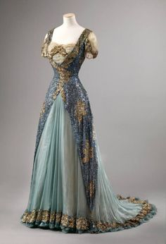 Ball gown, 1905-1910, England or France. Silk, sequins, lace....