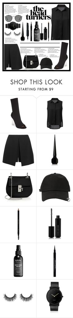 """""""#AllBlackEverything"""" by samella-walters ❤ liked on Polyvore featuring Tony Bianco, WithChic, Alexander McQueen, Christian Louboutin, Chloé, StyleNanda, Gucci, Marc Jacobs, Givenchy and South Lane"""